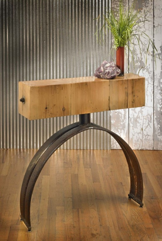 Barn beam console table