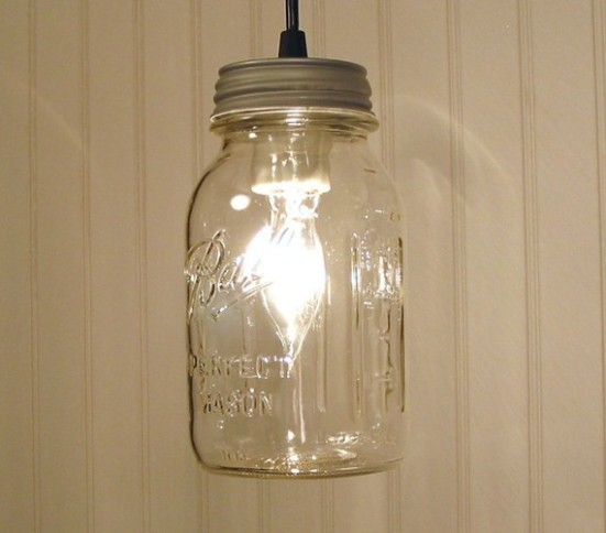 Vintage clear canning jar pendant