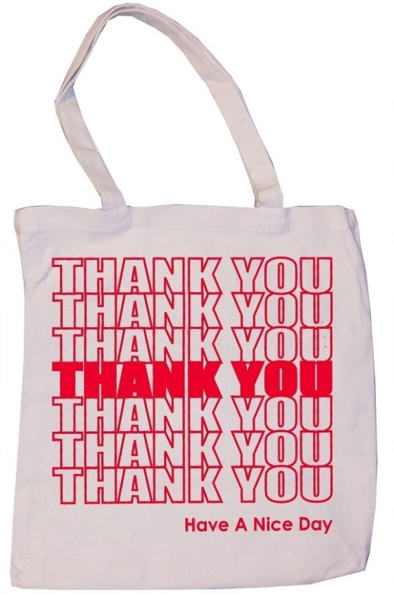 Thank you reuseable canvas grocery bag