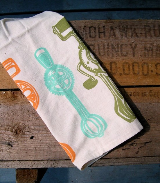 Flour sack tea towels - egg beater motif