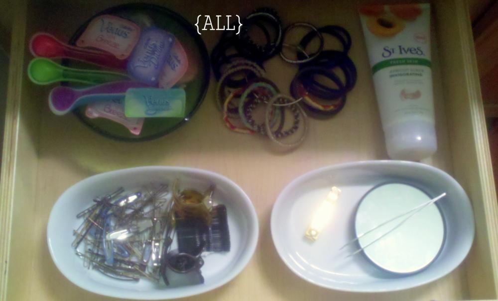Vanity drawer of weekly items