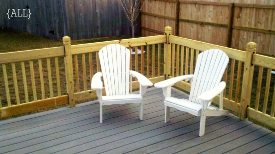 Deck with adirondack chairs