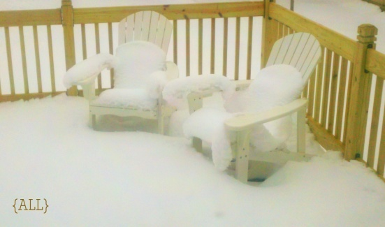 Snow-covered deck